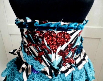Belt, steampunk, waist corset belt, steampunk victorian, burlesque, Tim Burton, tatter punk, striped belt, heart, rock star,faery,women,love