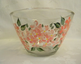 Hand painted bowl, large painted bowl, painted hydrangeas