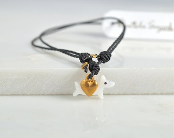 All you need is love and a dog, friendship bracelet with mother of pearl dog and gold heart