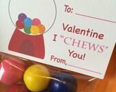 Gumball Valentine Bag Topper, Treat Bag Topper, Valentine's Day Card, Instant Printable Valentine