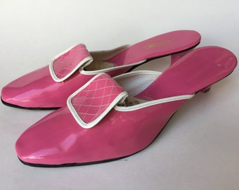 Reserved - Vintage 60s Shoes Pink Shiny Vinyl Mod Squad High Heel Mules NOS sz 9