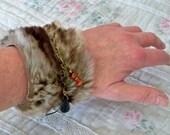 Faux fur bracelet cuff, fur wristband, boho chic cuff, brown fur cuff, charm bracelet, gift for her, Arctic wolf, wrist warmer