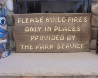 Vintage Park Service Sign, National Park Service Wooden Sign, Rustic Camp, Adirondack Sign