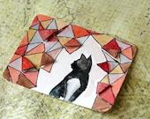 ACEO Original Watercolour cat Art - Alert