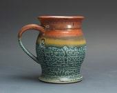 Handmade pottery coffee mug, ceramic mug, stoneware tea cup 14 oz mug  3078