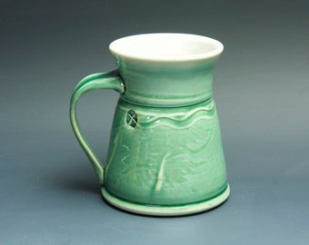 Pottery coffee mug, ceramic mug, stoneware tea cup jade green 14 oz 3415