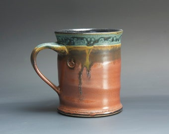 Handmade pottery coffee mug, ceramic mug, stoneware tea cup 14 oz mug  3104