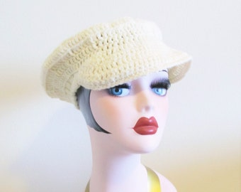 Vintage 1970's Cream Knit Tam Hipster Style Beret Newsboy Hat