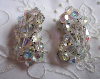 Vintage Silver Tone Aurora Borealis Glass Clip On Earrings