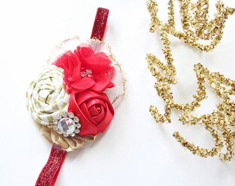 Tinsel in Time headband- red gold and white rosette and chiffon flower