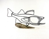 Walleye Fish Wire Sculpture. Fish Wire Art, Minimal Sculpture, 384593524
