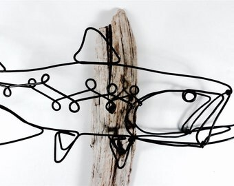 Trout Wall Art, Trout Wire Sculpture, Fish Art, Fish Wallhanging, Fish Wire Art
