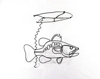Bass Fish Wire Sculpture, Bass Under Lilypad Wire Sculpture, Wire Sculpture Mobile, Fish Mobile Sculpture, 229114780