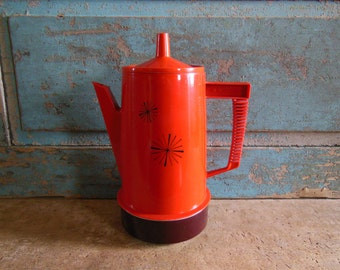 Regal Orange Electric Percolator 4-8 Cup Atomic Design