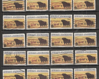 """25 RURAL AMERICA """"Angus Cattle"""" USED and Cancelled United States 8c Postage Stamps"""