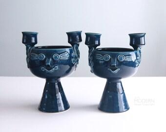 2 Bjorn Wiinblad Rosenthal Studio Linie Blue Candleholder Bowls