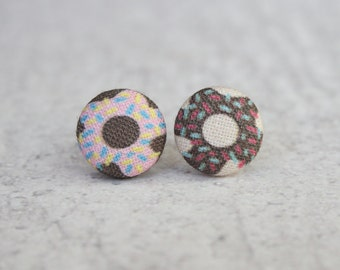 Donut Fabric Button Earrings