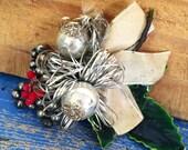 Vintage Christmas Corsage, Mercury Glass Balls, Christmas Pin, Tinsel, Red White Christmas