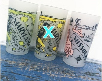 Vintage Souvenir State Glass, Maryland, Missouri, New Hampshire, North Dakota, South Dakota, Drinking Glass