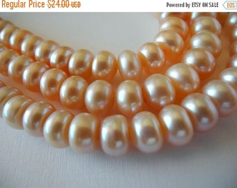 ON SALE Large Hole Button Pearls Natural Color Golden Pink Peach 10mm Freshwater Cultured 28 Pearls