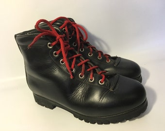 Mint PIVETTA Handmade Italian Leather Hiking Red Laces MOUNTAINEERING Boots, Mens 9.5 wide