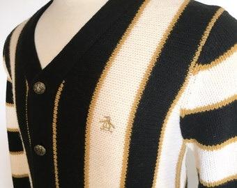 Original PENGUIN Cardigan Stripe Wool Metal Buttons Grand Slam Munsingwear Sweater