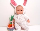 Rabbit Doll, White Bunny Doll Outfit, Hand Crocheted Rabbit Clothes, Easter Bunny Doll,  Easter Decoration, Miniature Doll, Collectors Doll