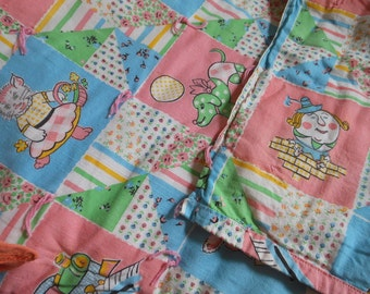 Nursery Rhyme Fabric Baby Crib Blanket Quilt Novelty Print Vintage at Quilted Nest