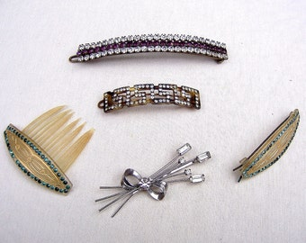 5 mid century hair accessories hair barrette hair clip hair pin hair comb hair jewelry decorative comb celluloid comb