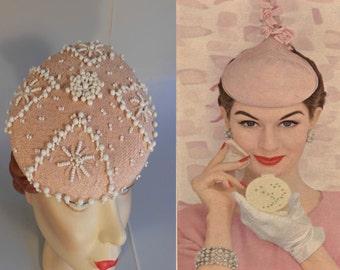 Seven Pink Ladies - Vintage 1950s Patrice Pale Pink & White Bead Beret Dish Hat
