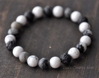 Essential Oil Diffuser Bracelet - White Howlite Beads - Grey Granite Stone Beads - Stretch Diffusing Lava Bead Bracelet - Yoga Inspired Jewe