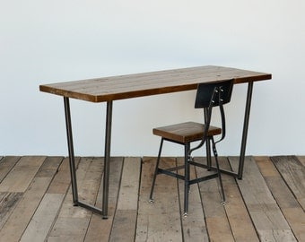 Reclaimed wood desk hand-crafted with modern steel tapered legs in choice of sizes or finishes