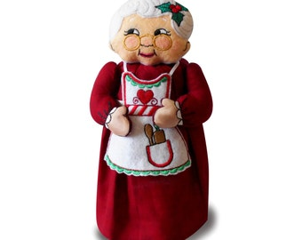 Mrs. Claus Jar Topper Machine Embroidery Designs
