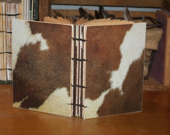 Faux Cow Fur Journal with coptic stitch binding, Rustic Wedding Guest Book, Animal Print Book, Bound Book,  Christmas Memory Album