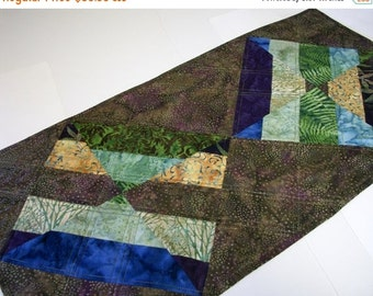 CIJ SALE Batik Table Topper Brown Green Purple Modern Quiltsy Handmade Quilted Wall Hanging FREE U.S. Shipping