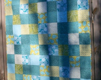 CIJ SALE Paisley Lap Quilt Chartreuse Green Teal Blue Quilted Patchwork Quiltsy Handmade FREE U.S. Shipping