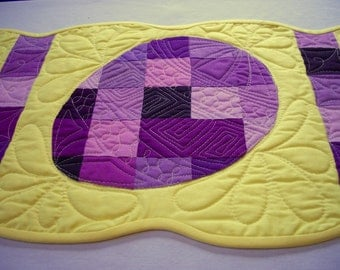 Easter Table Runner Purple Yellow Easter Eggs Quilted Bed Runner Quiltsy Handmade FREE U.S. Shipping