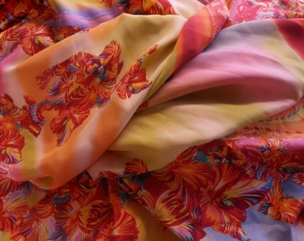 Fabric by the yard, rainbow and floral, one yard.