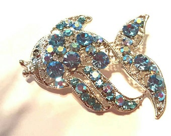 Brilliant Blue Rhinestone Brooch Pin Large Fish Vintage Jewelry