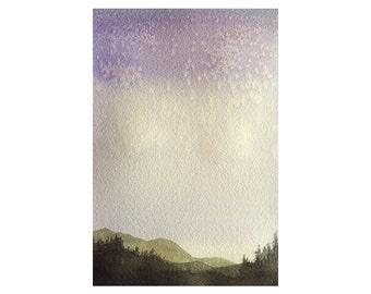 Stars over the Appalachians Watercolor Art Original Watercolor Painting Watercolor Landscape Painting Small Art Watercolor Landscape