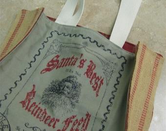 READY TO SHIP---Christmas Market Tote-Santa Feed Sack Boxed Style Lined Market/Overnight Tote Bag-Christmas Shopping Bag