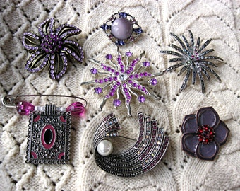 Lot of 7 Purple / Violet Brooches / Pins - some vintage - For DIY Bridal Bouquet Shabby Wedding Bouquet, Destash Purple Brooches