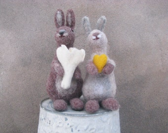 Two Easter rabbits table and home decor in handmade.