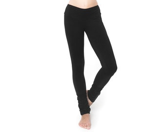 Black Extra Long Leggings- Black Leggings - Organic Cotton Leggings - Yoga Pants