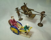 RESERVED for Lorraine 1971 Metall Rickshaw Made in Hong Kong and Ceramic Rickshaw Miniature Figurines.