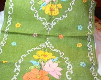 1960s Linen Peonies Tea Towel.