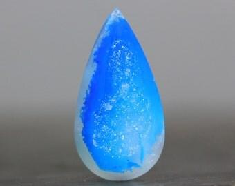 Blue Crystal Polished Drusy Stone Cabochon, Quartz & Agate Bezel Edge Pendant Necklace Healing Stone Wire Wrap, Setting Gems (11704)
