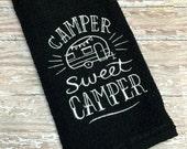 Camper Sweet Camper Dish Towel Custom Monogram