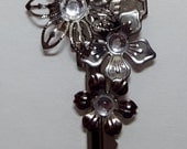 Sliver Flower  Repurposed Key