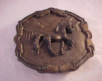 1976 Bergamot Brass Works Horse Belt Buckle